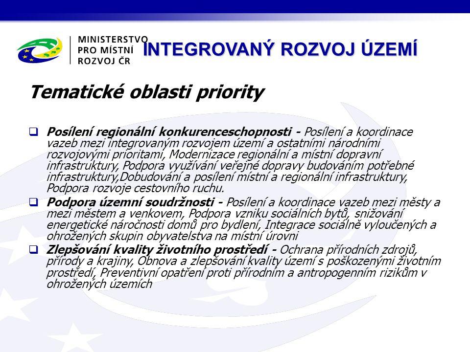 INTEGROVANÝ ROZVOJ ÚZEMÍ Tematické oblasti priority  Posílení regionální konkurenceschopnosti - Posílení a koordinace vazeb mezi integrovaným rozvojem území a ostatními národními rozvojovými prioritami, Modernizace regionální a místní dopravní infrastruktury, Podpora využívání veřejné dopravy budováním potřebné infrastruktury,Dobudování a posílení místní a regionální infrastruktury, Podpora rozvoje cestovního ruchu.