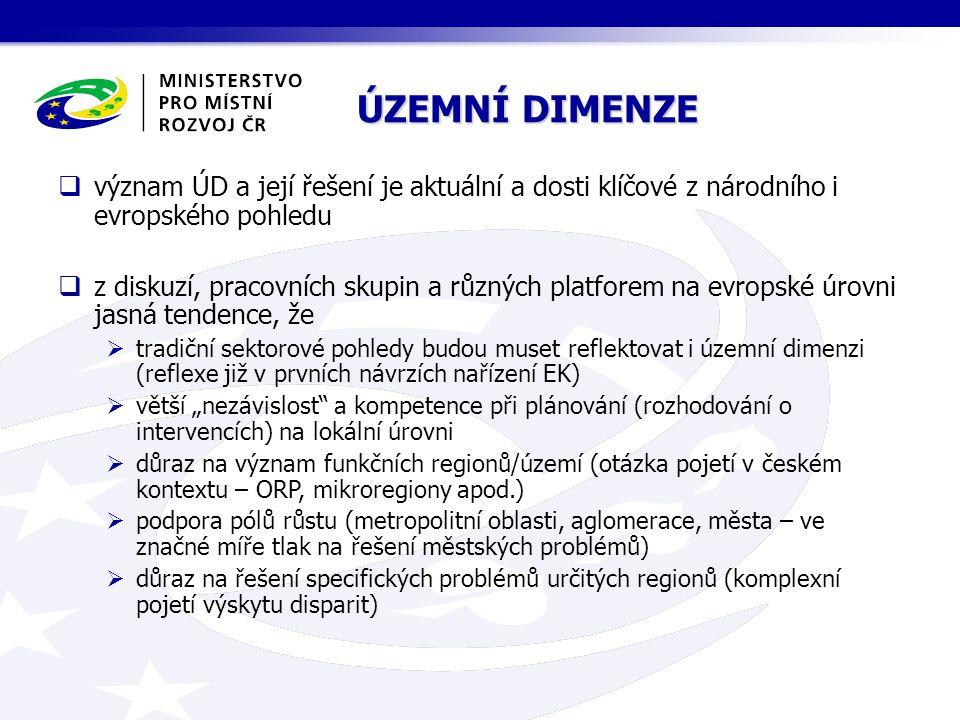ÚZEMNÍ DIMENZE FILOZOFIE NASTAVENÍ ÚZEMNÍ DIMENZE na témata  prorůstová (z pohledu ČR i EU)  vyrovnávání disparit (infrastruktura, vybavenost, školství, služby, fungování regionů atp.)