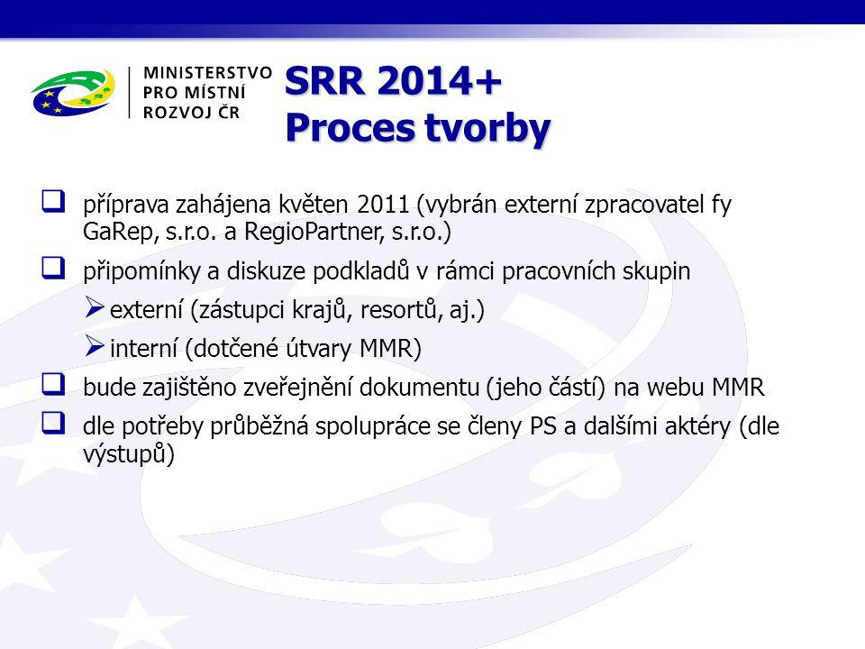 SRR 2014+ Proces tvorby  příprava zahájena květen 2011 (vybrán externí zpracovatel fy GaRep, s.r.o.