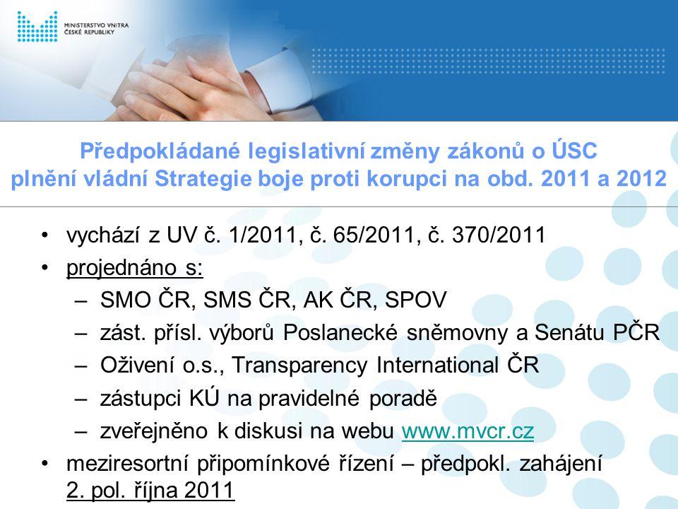 Předpokládané legislativní změny zákonů o ÚSC plnění vládní Strategie boje proti korupci na obd. 2011 a 2012 vychází z UV č. 1/2011, č. 65/2011, č. 37