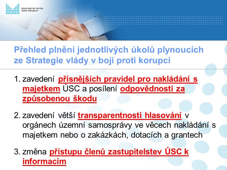 Přehled plnění jednotlivých úkolů plynoucích ze Strategie vlády v boji proti korupci 1.zavedení přísnějších pravidel pro nakládání s majetkem ÚSC a po