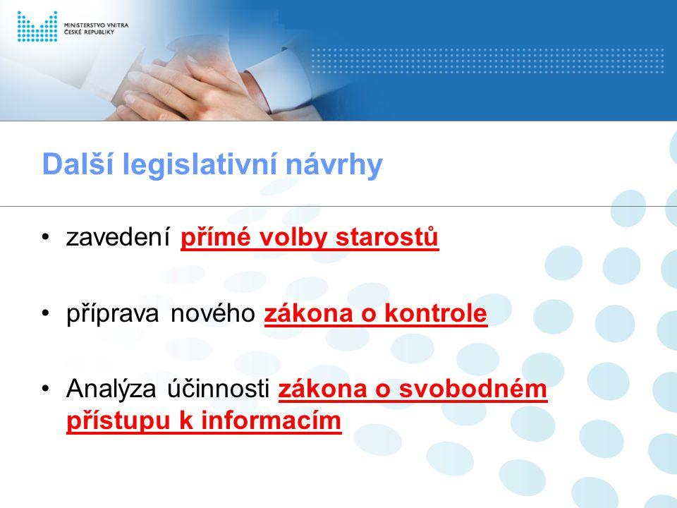 Další legislativní návrhy zavedení přímé volby starostů příprava nového zákona o kontrole Analýza účinnosti zákona o svobodném přístupu k informacím
