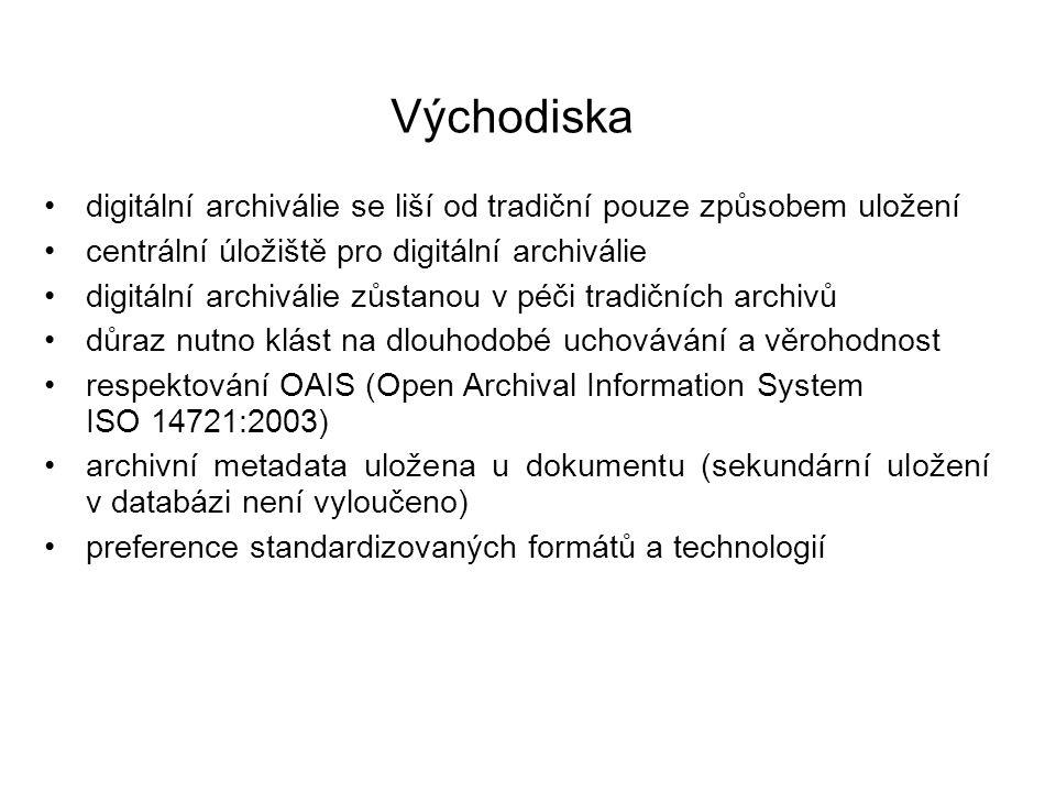 Výstupy primární uchovávací metodou bude migrace ostatní metody budou doplňkové omezený počet formátů ukládáno bude na dva typy médií s rozdílným fyzikálním principem (magnetický/optický) dvě archivní úložiště minimálně 50 km od sebe NDA bude rozdělen na 2 části (chráněné úložiště a vlastní archiv) autenticita (neměnnost) dokumentů bude zajištěna vnitřními prostředky a procesy archivu