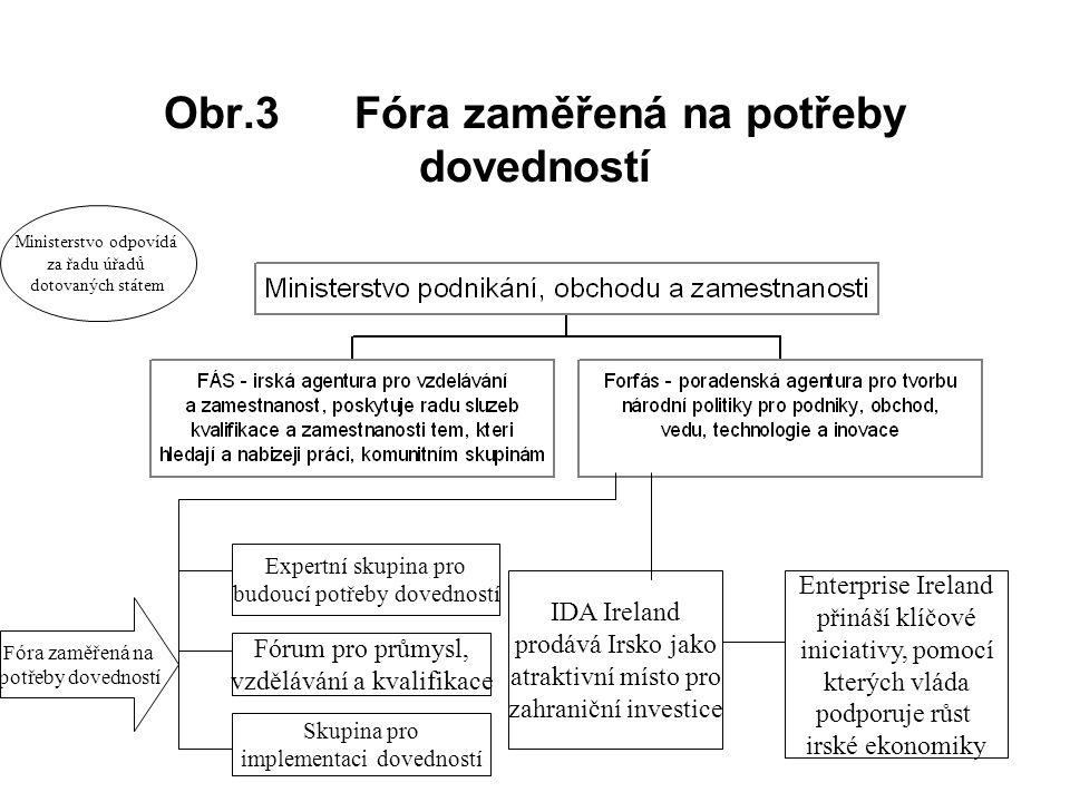 Obr.3 Fóra zaměřená na potřeby dovedností Ministerstvo odpovídá za řadu úřadů dotovaných státem Expertní skupina pro budoucí potřeby dovedností Fórum