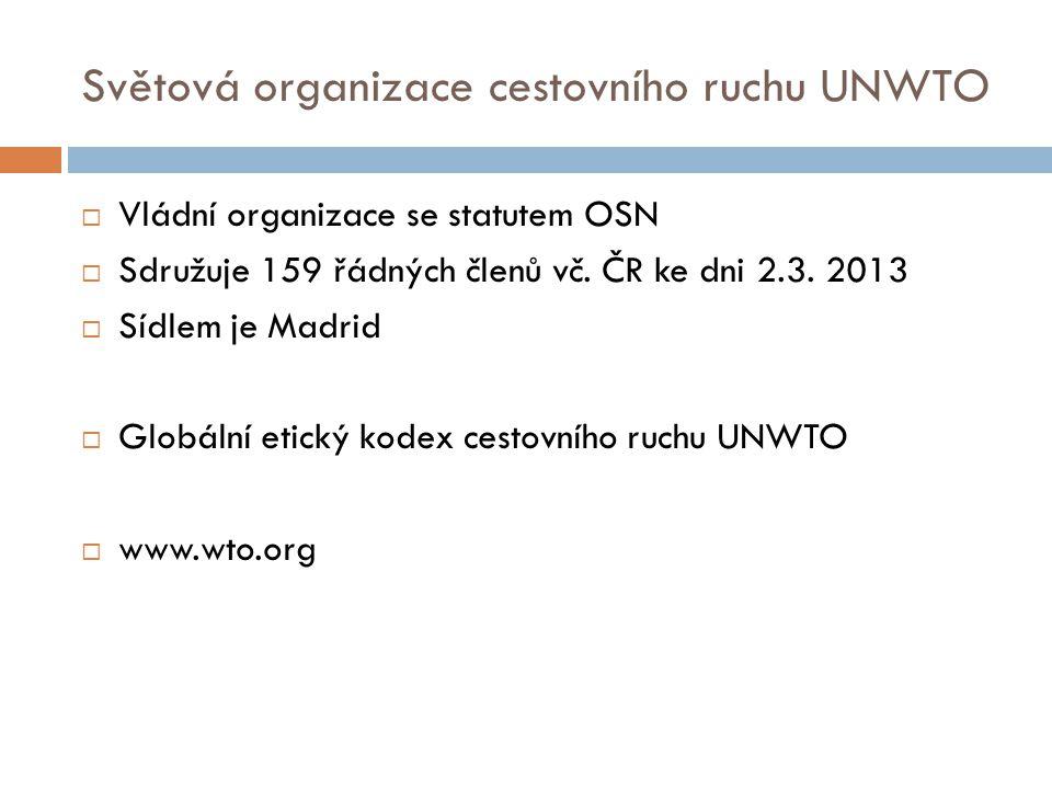 Světová organizace cestovního ruchu UNWTO  Vládní organizace se statutem OSN  Sdružuje 159 řádných členů vč.