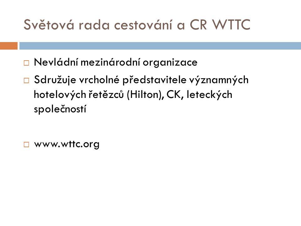 Světová rada cestování a CR WTTC  Nevládní mezinárodní organizace  Sdružuje vrcholné představitele významných hotelových řetězců (Hilton), CK, leteckých společností  www.wttc.org