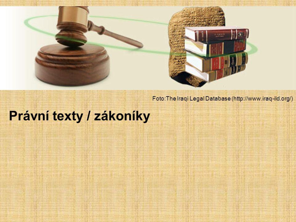 –CH zákony lze dělit mnoha způsoby – nejzákladnější: a) dotýkající se veřejného pořádku, chrámu, paláce, obyvatelstva; b) individuální postavení občanů – majetek, rodina, dědictví, adopce, manželství, pracovní činnosti,… –Psáno kasuistickou formou – na příkladech, ne všeobecná formulace Otázkou je, do jaké míry byly zákony a zákonáky používány v praxi, mnohdy rozpory mezi zákoníkem a právními rozhodnutími z praxe Asyrské zákonodárství –Staroasyrské zákony – platné v obchodních osadách (Anatolie) –Středoasyrské zákony – Aššur – 12./11.