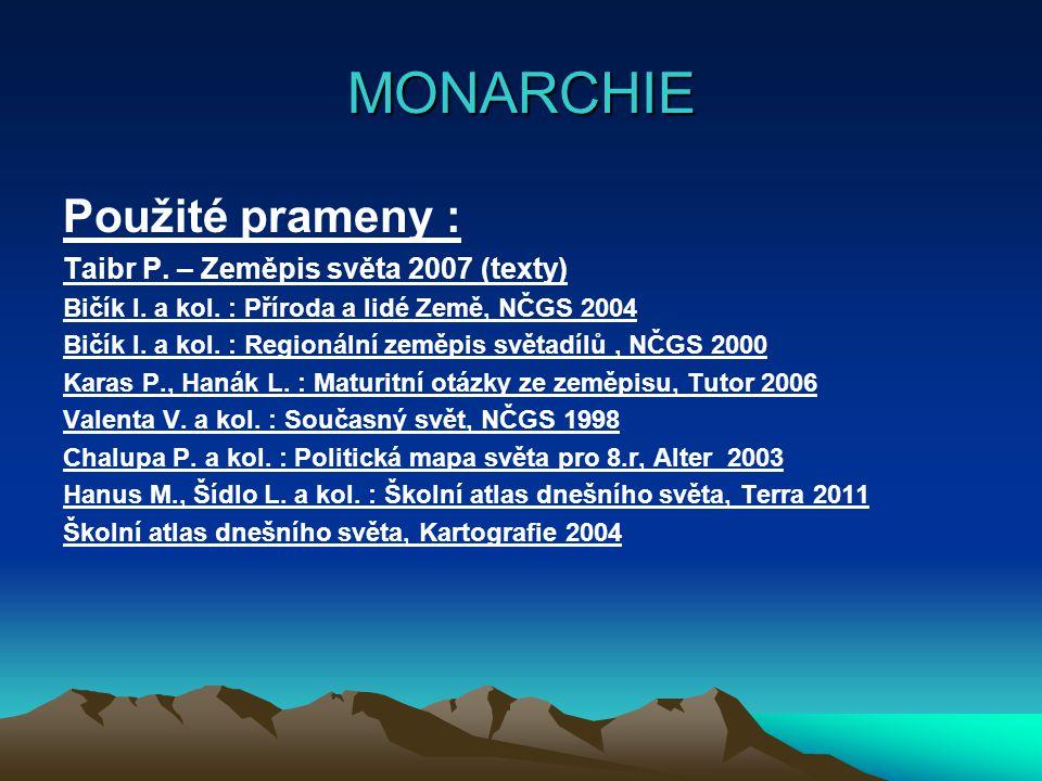 MONARCHIE Použité prameny : Taibr P. – Zeměpis světa 2007 (texty) Bičík I. a kol. : Příroda a lidé Země, NČGS 2004 Bičík I. a kol. : Regionální zeměpi