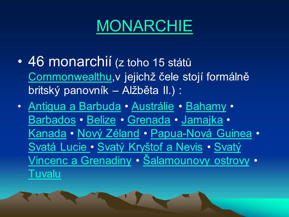 46 monarchií (z toho 15 států Commonwealthu,v jejichž čele stojí formálně britský panovník – Alžběta II.) : Commonwealthu Antigua a Barbuda Austrálie