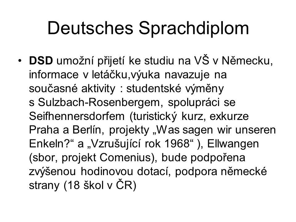 """Deutsches Sprachdiplom DSD umožní přijetí ke studiu na VŠ v Německu, informace v letáčku,výuka navazuje na současné aktivity : studentské výměny s Sulzbach-Rosenbergem, spolupráci se Seifhennersdorfem (turistický kurz, exkurze Praha a Berlín, projekty """"Was sagen wir unseren Enkeln a """"Vzrušující rok 1968 ), Ellwangen (sbor, projekt Comenius), bude podpořena zvýšenou hodinovou dotací, podpora německé strany (18 škol v ČR)"""