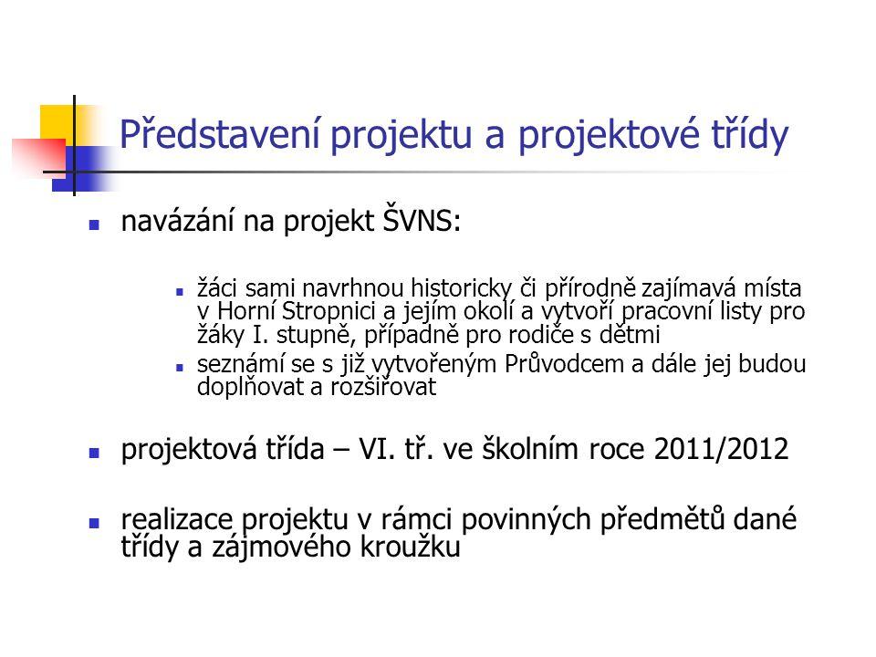 Představení projektu a projektové třídy navázání na projekt ŠVNS: žáci sami navrhnou historicky či přírodně zajímavá místa v Horní Stropnici a jejím okolí a vytvoří pracovní listy pro žáky I.