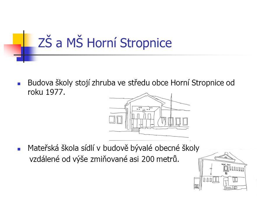 ZŠ a MŠ Horní Stropnice Budova školy stojí zhruba ve středu obce Horní Stropnice od roku 1977.