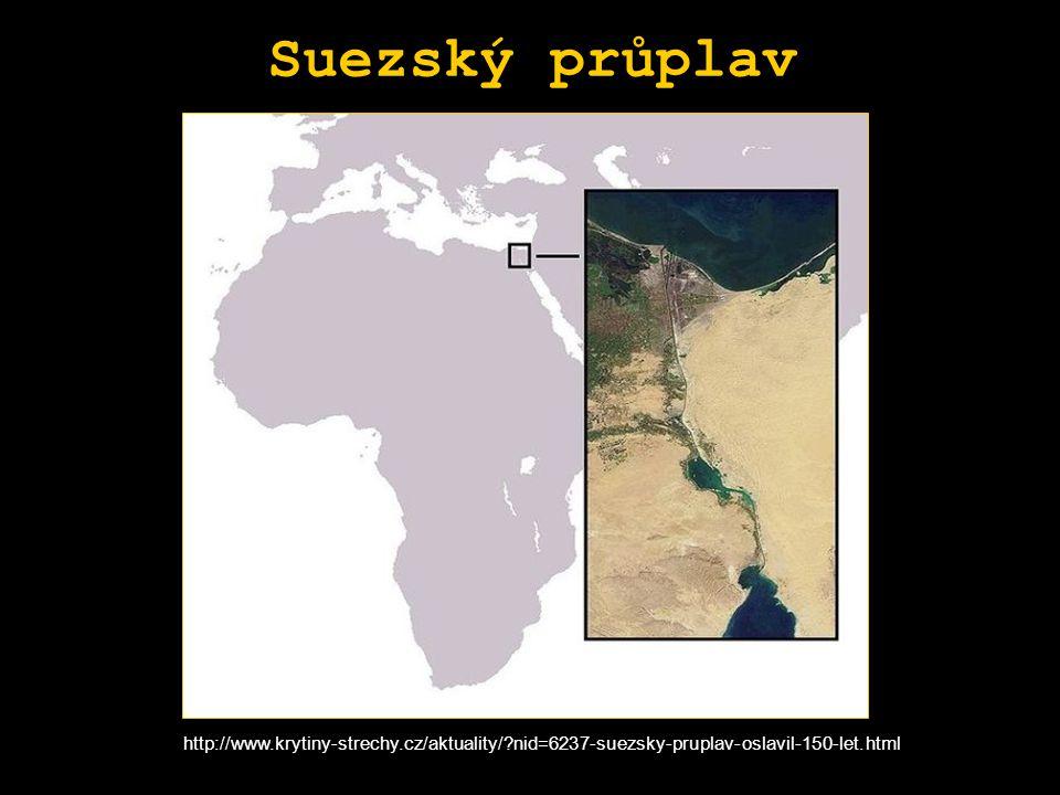 Suezský průplav http://www.krytiny-strechy.cz/aktuality/?nid=6237-suezsky-pruplav-oslavil-150-let.html