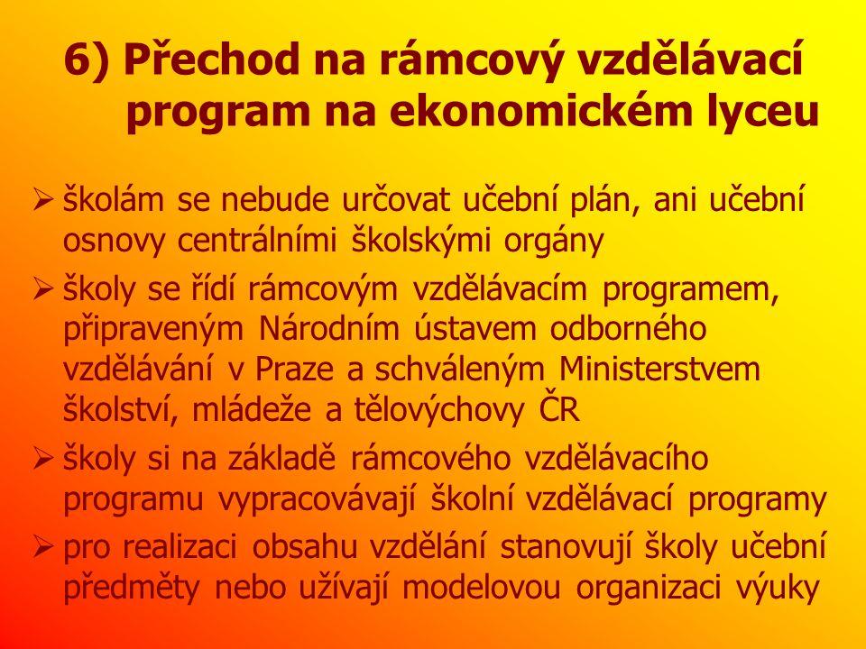 6) Přechod na rámcový vzdělávací program na ekonomickém lyceu  školám se nebude určovat učební plán, ani učební osnovy centrálními školskými orgány  školy se řídí rámcovým vzdělávacím programem, připraveným Národním ústavem odborného vzdělávání v Praze a schváleným Ministerstvem školství, mládeže a tělovýchovy ČR  školy si na základě rámcového vzdělávacího programu vypracovávají školní vzdělávací programy  pro realizaci obsahu vzdělání stanovují školy učební předměty nebo užívají modelovou organizaci výuky
