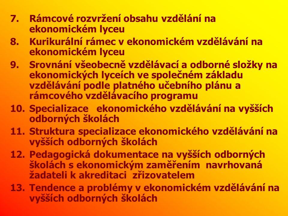 1) Univerzalizace ekonomického vzdělání od r.