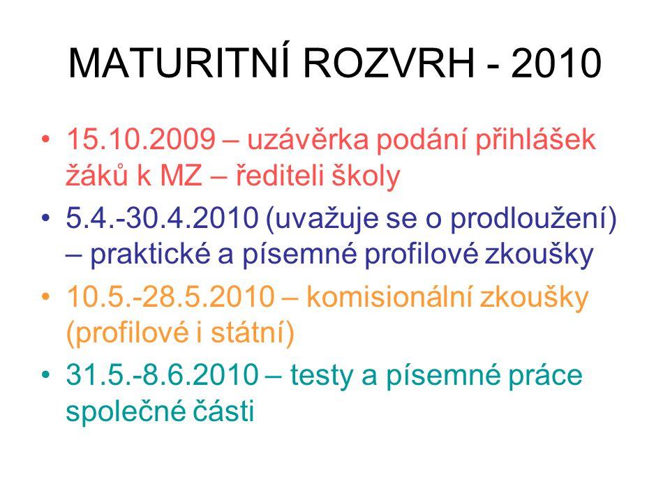 MATURITNÍ ROZVRH - 2010 15.10.2009 – uzávěrka podání přihlášek žáků k MZ – řediteli školy 5.4.-30.4.2010 (uvažuje se o prodloužení) – praktické a píse