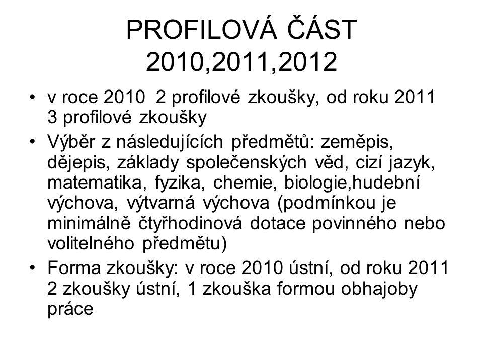 PROFILOVÁ ČÁST 2010,2011,2012 v roce 2010 2 profilové zkoušky, od roku 2011 3 profilové zkoušky Výběr z následujících předmětů: zeměpis, dějepis, zákl