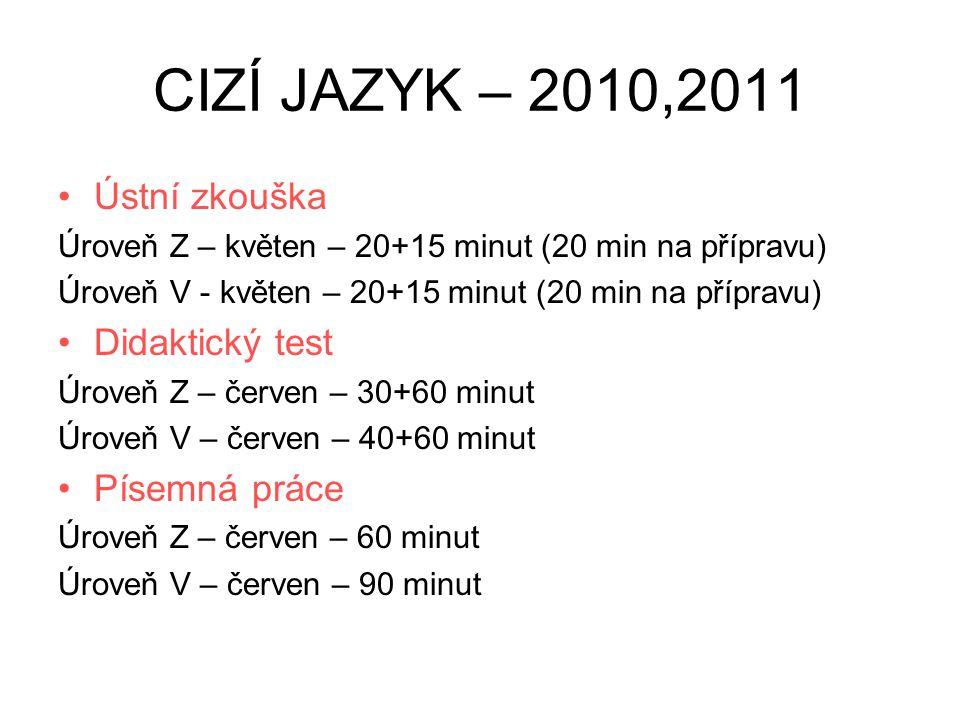 CIZÍ JAZYK – 2010,2011 Ústní zkouška Úroveň Z – květen – 20+15 minut (20 min na přípravu) Úroveň V - květen – 20+15 minut (20 min na přípravu) Didakti