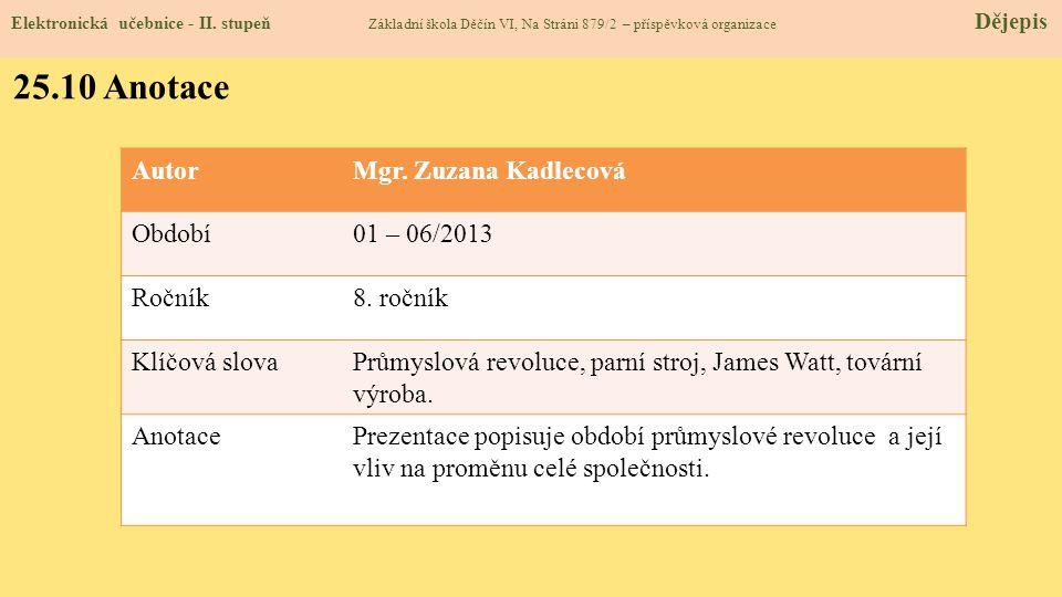 Elektronická učebnice - II. stupeň Základní škola Děčín VI, Na Stráni 879/2 – příspěvková organizace Dějepis 25.10 Anotace AutorMgr. Zuzana Kadlecová
