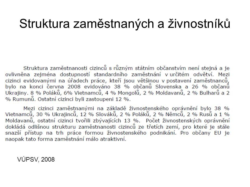 Struktura zaměstnaných a živnostníků VÚPSV, 2008
