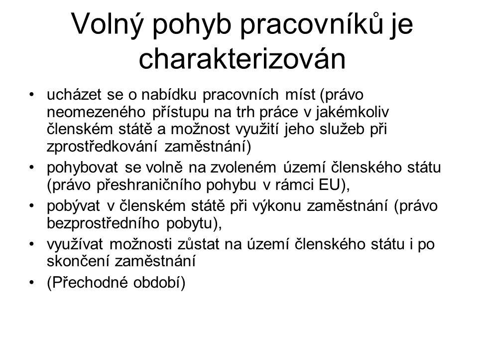 Význam cizinců na trhu práce v ČR 1993 1% na celkové zaměstnanosti 2008 6,2 % http://www.mfcr.cz/cps/rde/xbcr/mfcr/Zamestnan ost_cizincu_vCR_pdf.pdf Trend ve prospěch standardního typu zaměstnání (ubylo kvazi podnikatelů) x současný trend Regionální odlišnosti (Praha a Střední Čechy – cca 45 %, 14 % pracovní síly v Praze, 8 % v SČ)