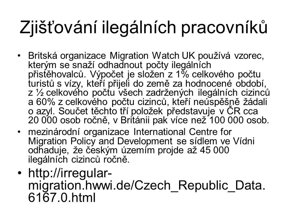 Zjišťování ilegálních pracovníků Britská organizace Migration Watch UK používá vzorec, kterým se snaží odhadnout počty ilegálních přistěhovalců. Výpoč