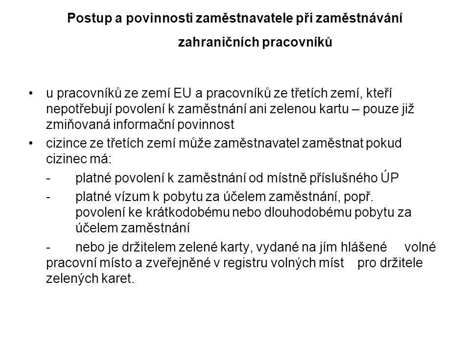 Podmínky zaměstnávání cizinců Pouze na základě povolení ÚP nebo na základě zelené karty (vyjma případů stanovených zákonem).