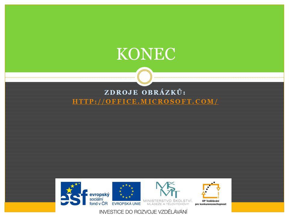 ZDROJE OBRÁZKŮ: HTTP://OFFICE.MICROSOFT.COM/ KONEC
