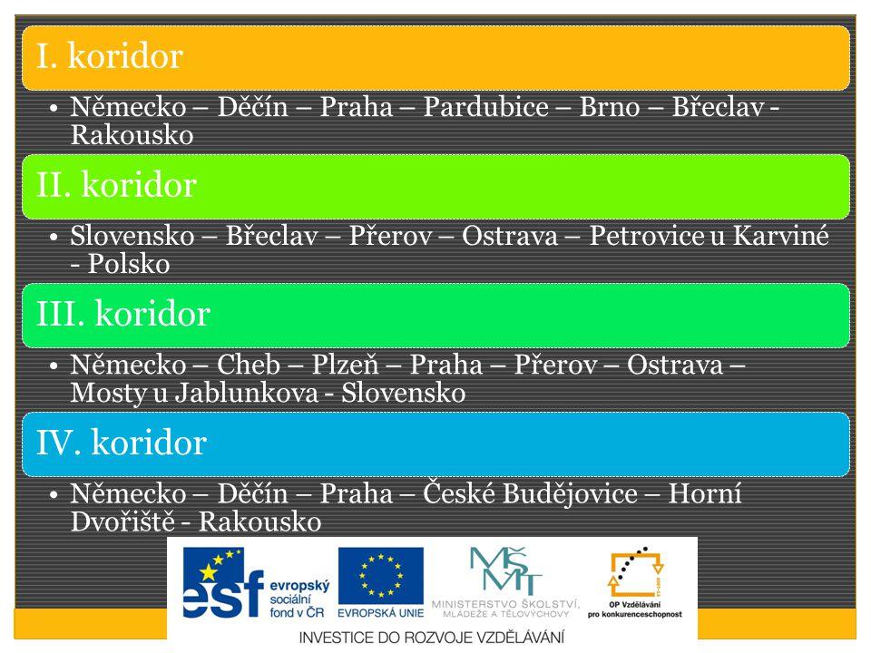 I. koridor Německo – Děčín – Praha – Pardubice – Brno – Břeclav - Rakousko II. koridor Slovensko – Břeclav – Přerov – Ostrava – Petrovice u Karviné -