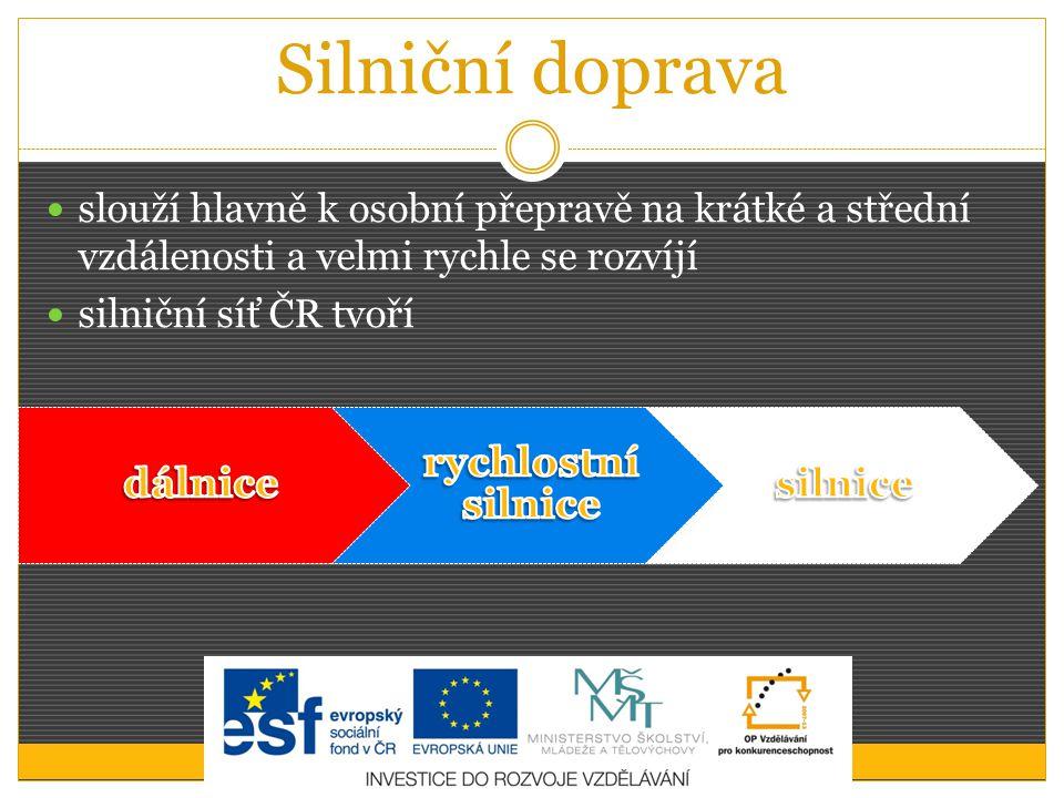 Silniční doprava slouží hlavně k osobní přepravě na krátké a střední vzdálenosti a velmi rychle se rozvíjí silniční síť ČR tvoří