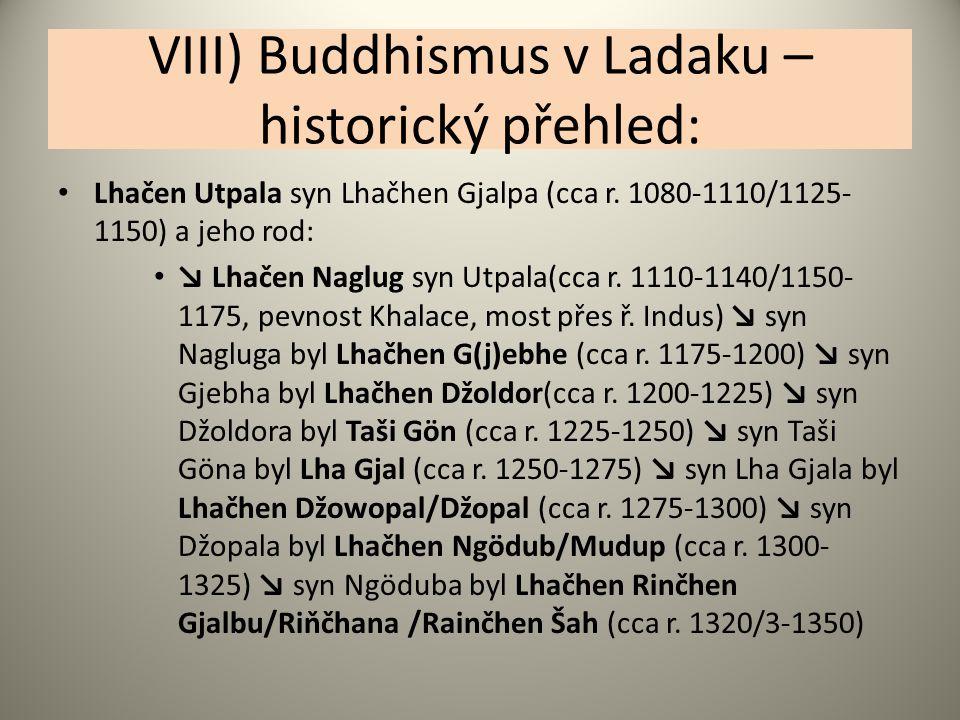 VIII) Buddhismus v Ladaku – historický přehled: Lhačen Utpala syn Lhačhen Gjalpa (cca r. 1080-1110/1125- 1150) a jeho rod: ↘ Lhačen Naglug syn Utpala(