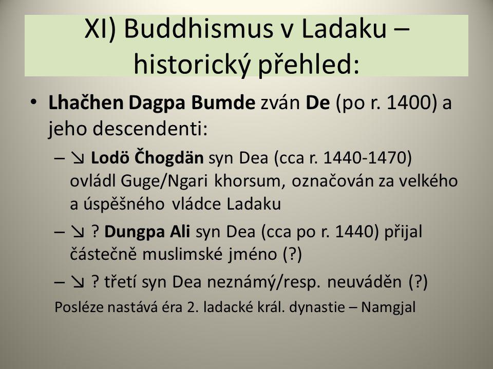 XI) Buddhismus v Ladaku – historický přehled: Lhačhen Dagpa Bumde zván De (po r. 1400) a jeho descendenti: – ↘ Lodö Čhogdän syn Dea (cca r. 1440-1470)
