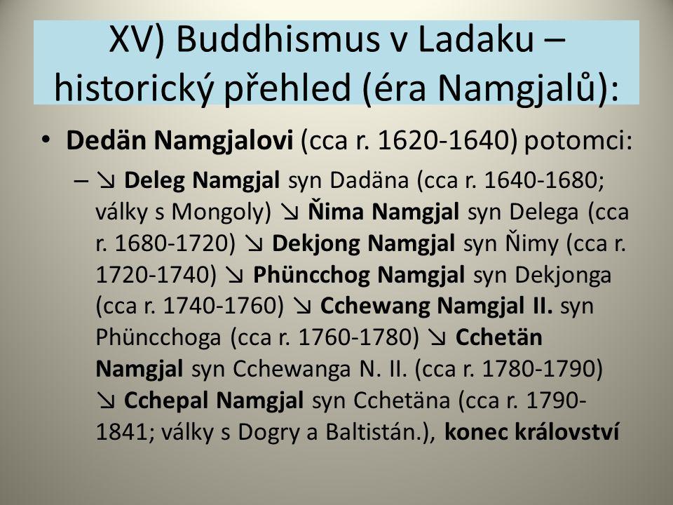 XV) Buddhismus v Ladaku – historický přehled (éra Namgjalů): Dedän Namgjalovi (cca r. 1620-1640) potomci: – ↘ Deleg Namgjal syn Dadäna (cca r. 1640-16