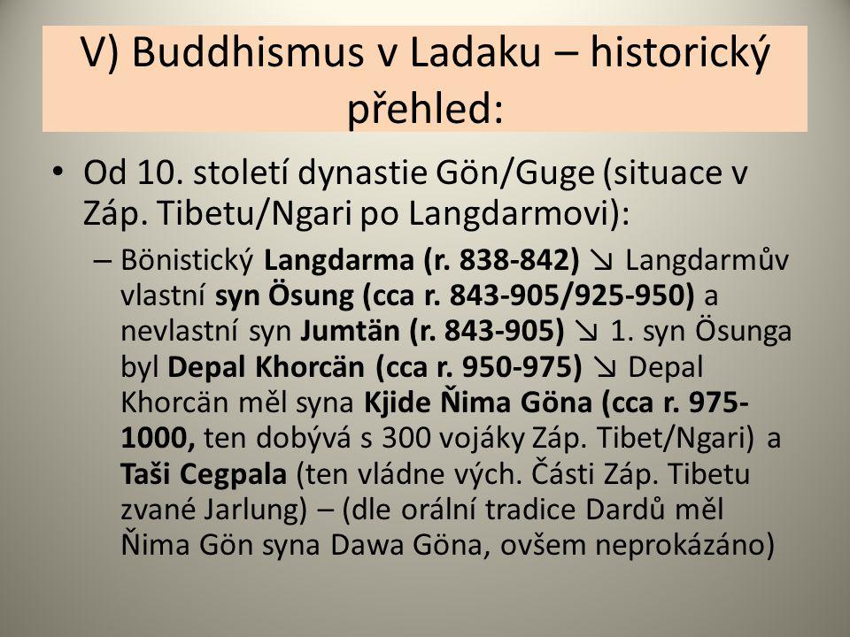V) Buddhismus v Ladaku – historický přehled: Od 10. století dynastie Gön/Guge (situace v Záp. Tibetu/Ngari po Langdarmovi): – Bönistický Langdarma (r.