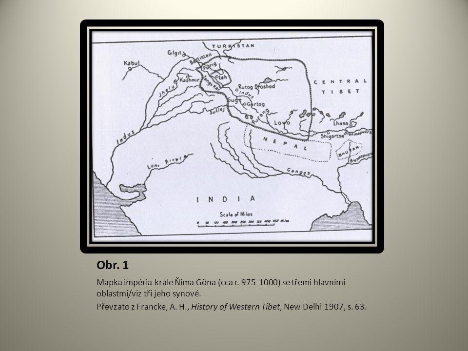 Obr. 1 Mapka impéria krále Ňima Göna (cca r. 975-1000) se třemi hlavními oblastmi/viz tři jeho synové. Převzato z Francke, A. H., History of Western T