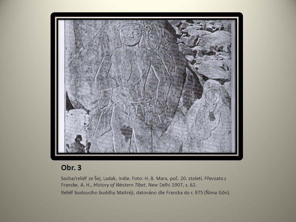 Obr. 3 Socha/reliéf ze Šej, Ladak, Indie. Foto: H. B. Marx, poč. 20. století. Převzato z Francke, A. H., History of Western Tibet, New Delhi 1907, s.