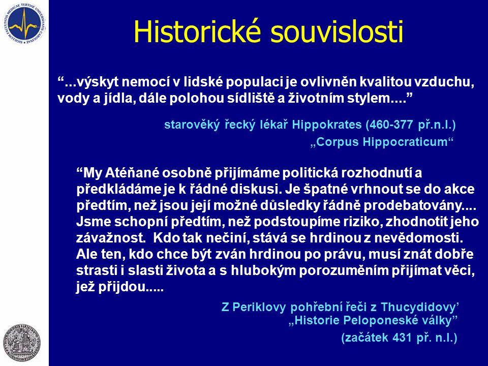 """Historické souvislosti starověký řecký lékař Hippokrates (460-377 př.n.l.) """"Corpus Hippocraticum"""" """"...výskyt nemocí v lidské populaci je ovlivněn kval"""