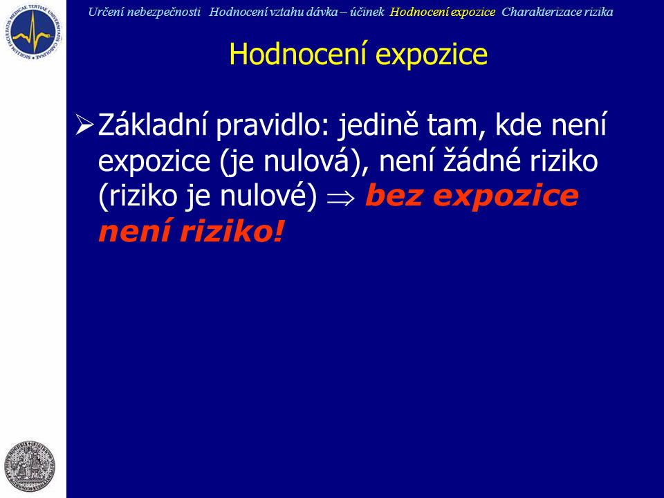Hodnocení expozice  Základní pravidlo: jedině tam, kde není expozice (je nulová), není žádné riziko (riziko je nulové)  bez expozice není riziko! Ur