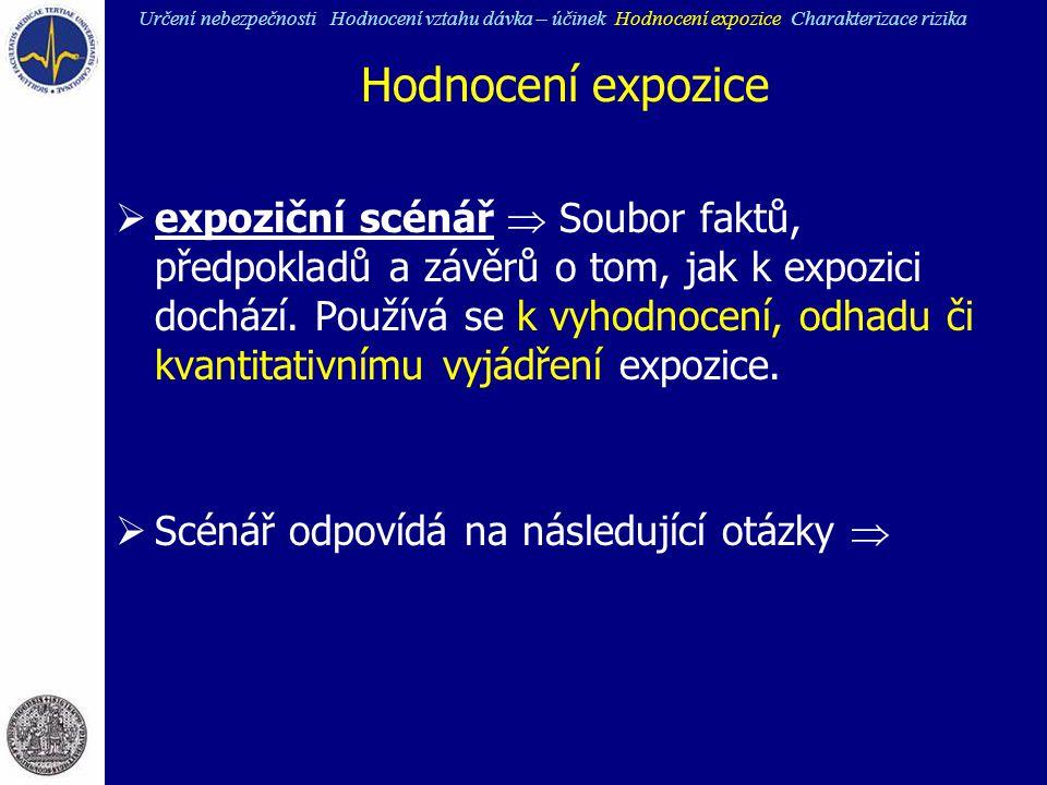Hodnocení expozice  expoziční scénář  Soubor faktů, předpokladů a závěrů o tom, jak k expozici dochází. Používá se k vyhodnocení, odhadu či kvantita
