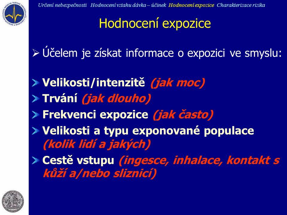 Hodnocení expozice  Účelem je získat informace o expozici ve smyslu: Velikosti/intenzitě (jak moc) Trvání (jak dlouho) Frekvenci expozice (jak často)