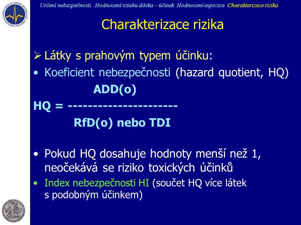 Charakterizace rizika  Látky s prahovým typem účinku: Koeficient nebezpečnosti (hazard quotient, HQ) ADD(o) HQ = ---------------------- RfD(o) nebo T