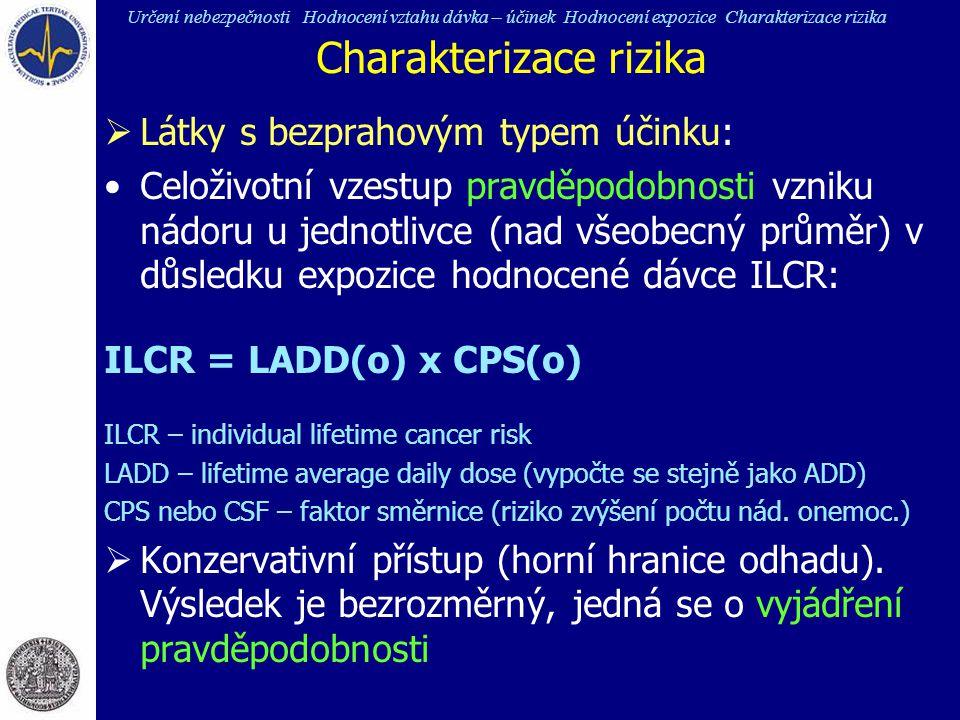 Charakterizace rizika  Látky s bezprahovým typem účinku: Celoživotní vzestup pravděpodobnosti vzniku nádoru u jednotlivce (nad všeobecný průměr) v dů