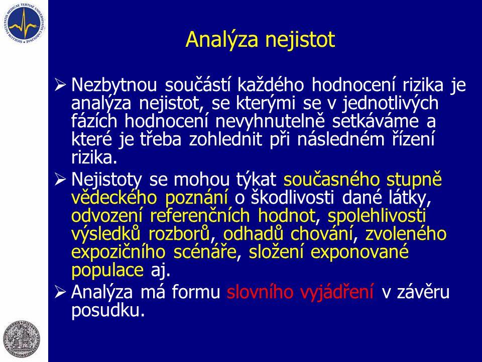 Analýza nejistot  Nezbytnou součástí každého hodnocení rizika je analýza nejistot, se kterými se v jednotlivých fázích hodnocení nevyhnutelně setkává