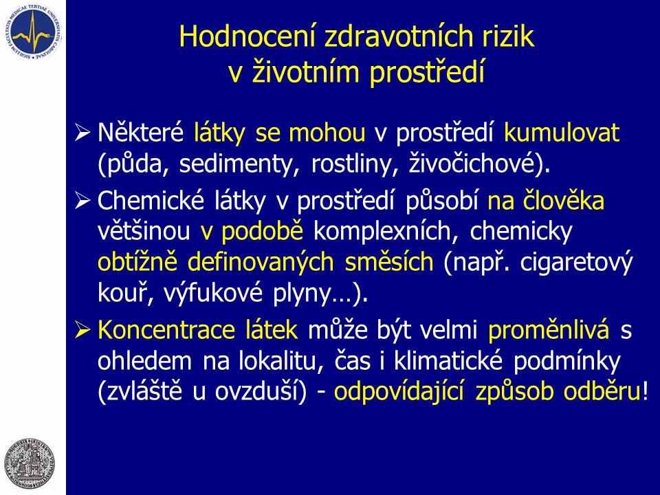 Hodnocení zdravotních rizik v životním prostředí  Některé látky se mohou v prostředí kumulovat (půda, sedimenty, rostliny, živočichové).  Chemické l