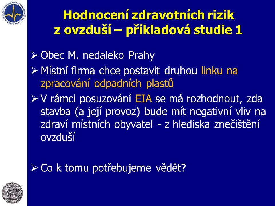 Hodnocení zdravotních rizik z ovzduší – příkladová studie 1  Obec M. nedaleko Prahy  Místní firma chce postavit druhou linku na zpracování odpadních
