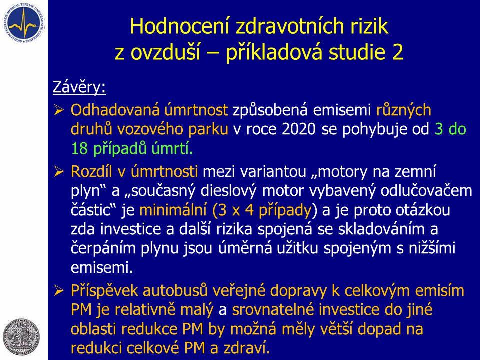 Hodnocení zdravotních rizik z ovzduší – příkladová studie 2 Závěry:  Odhadovaná úmrtnost způsobená emisemi různých druhů vozového parku v roce 2020 s