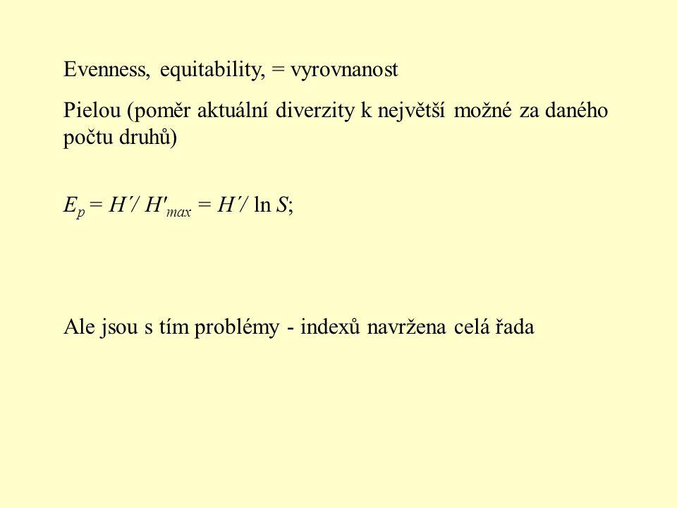Evenness, equitability, = vyrovnanost Pielou (poměr aktuální diverzity k největší možné za daného počtu druhů) E p = H´/ H' max = H´/ ln S; Ale jsou s
