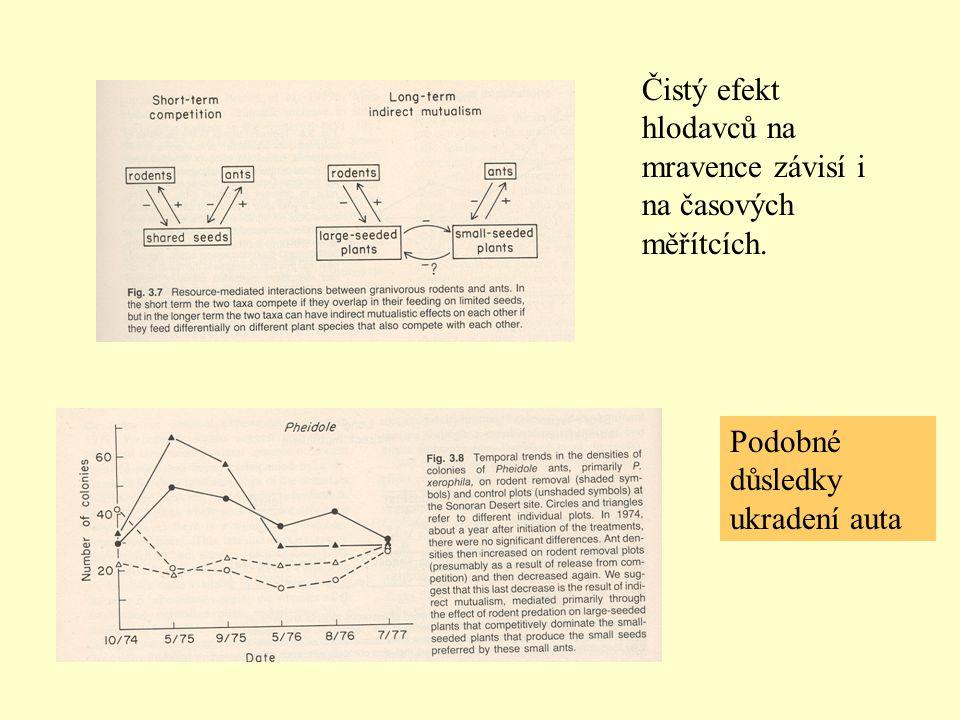 Čistý efekt hlodavců na mravence závisí i na časových měřítcích. Podobné důsledky ukradení auta