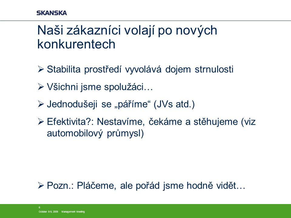 """October 8-9, 2009Management Meeting 6 Naši zákazníci volají po nových konkurentech  Stabilita prostředí vyvolává dojem strnulosti  Všichni jsme spolužáci…  Jednodušeji se """"páříme (JVs atd.)  Efektivita : Nestavíme, čekáme a stěhujeme (viz automobilový průmysl)  Pozn.: Pláčeme, ale pořád jsme hodně vidět…"""