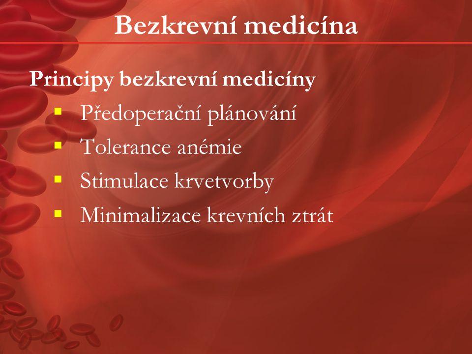 Předoperační plánování Formulovat individualizovaný léčebný plán k minimalizaci krevních ztrát a léčbě anémie.